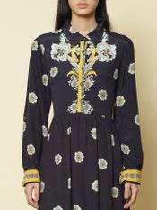 Navy Blue Floral Shirt Dress