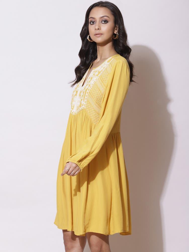 Mustard Embroidered Short Dress