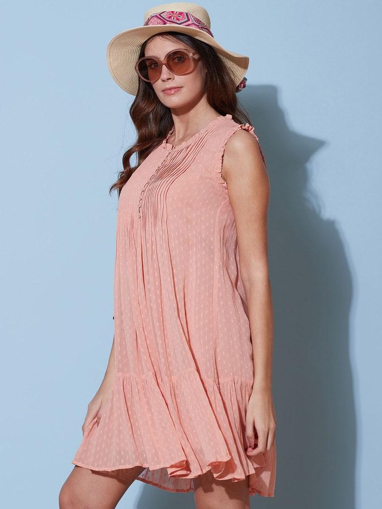 Soft Pink Ruffle Short Dress