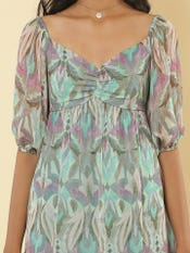 Green Printed Short Dress