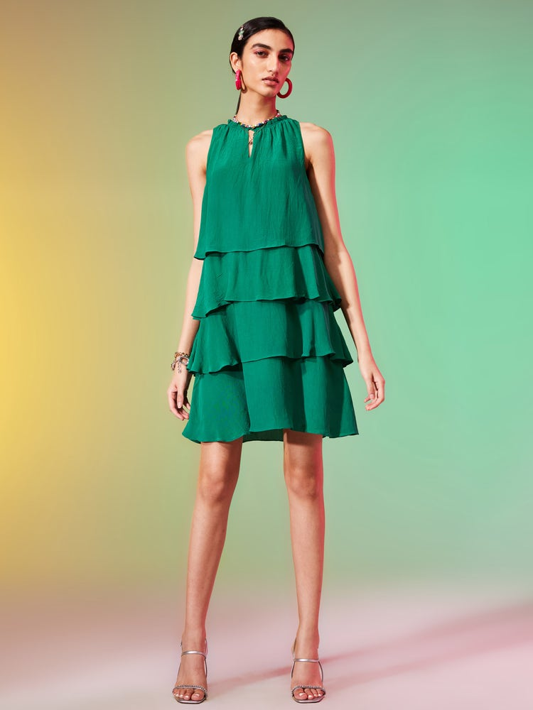 Teal Green Crepe Tiered Short Dress