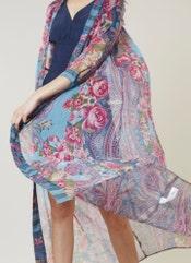 Blue & Pink Floral Print Shrug