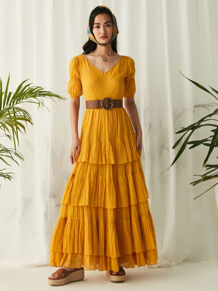 Yellow Tiered Long Dress