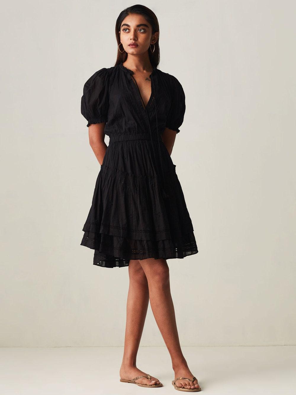 Black Lounge Embroidered Short Dress