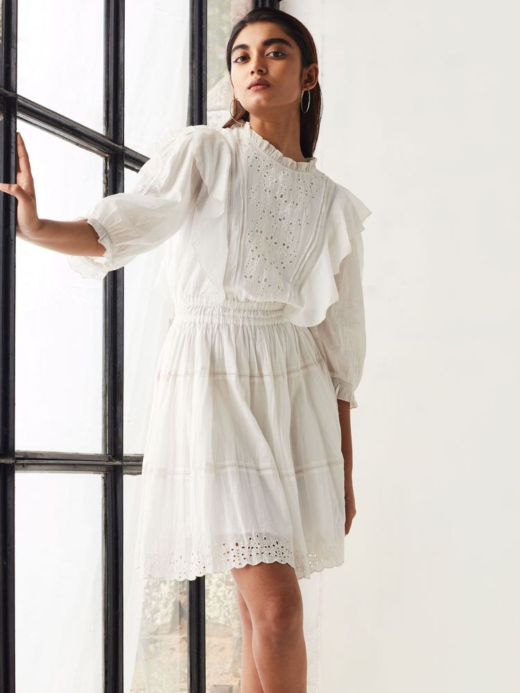 White Summer Embroidered Short Dress