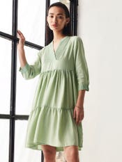 Olive Green Tiered Washed Short Dress