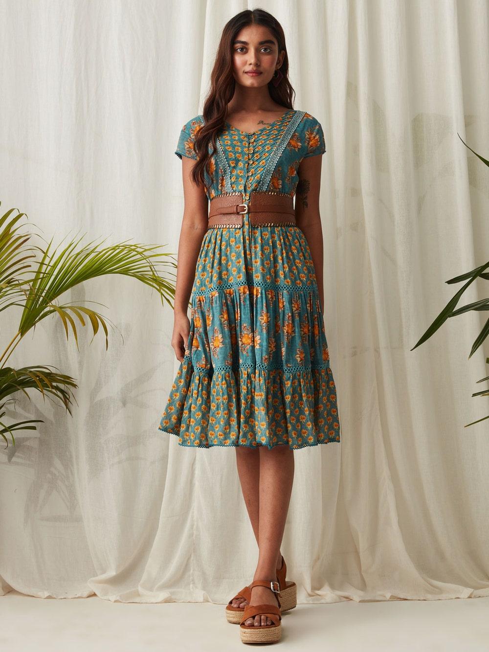 Teal Printed Short Dress