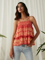 Coral Printed Strappy Top