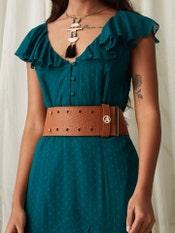 Tan Brown Embossed Leather Belt