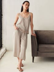 Grey Easy-Fit Crushed Culottes