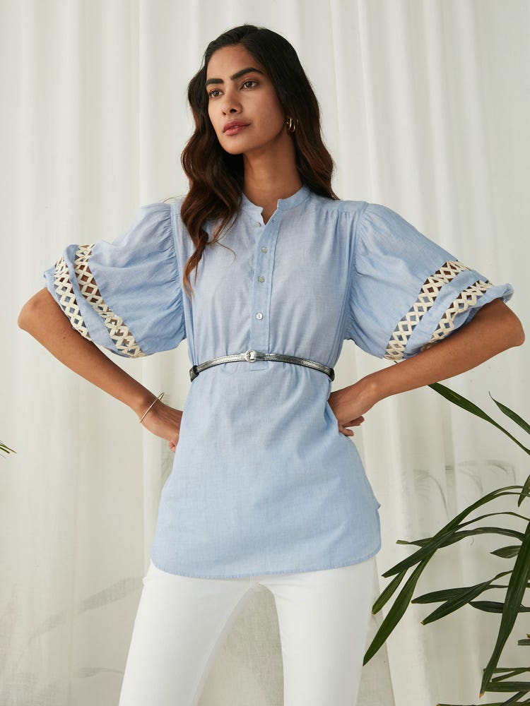 Blue Chambray Top