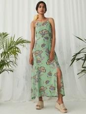 Green Floral Print Strappy Long Dress