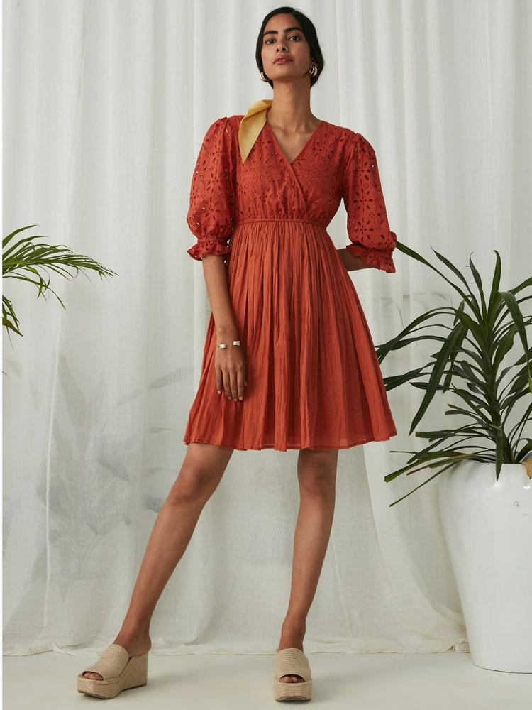 Rust Schiffli Short Dress