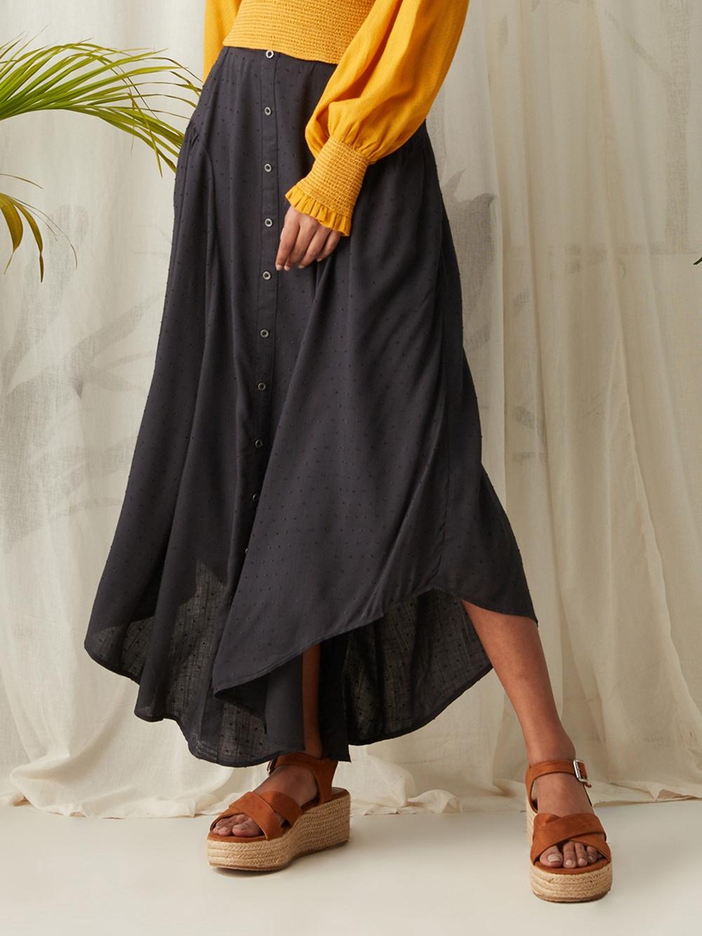 Anthra Grey Midi Skirt