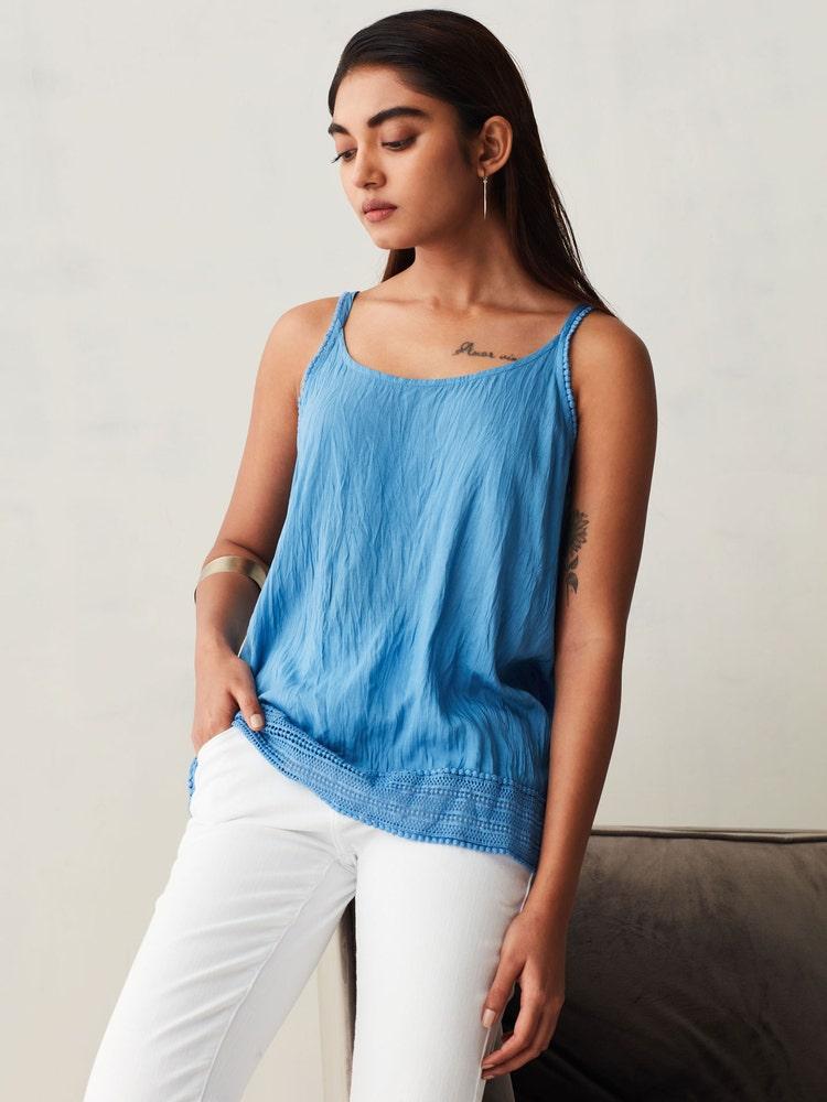 Denim Blue Soft Crushed Lace Top