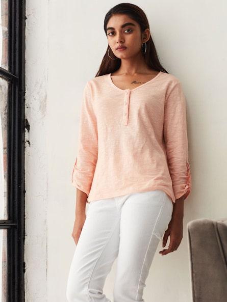 Peach Henley T-Shirt