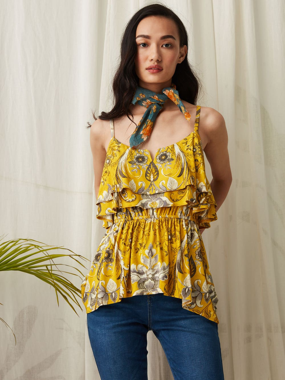 Yellow Printed Strappy Top