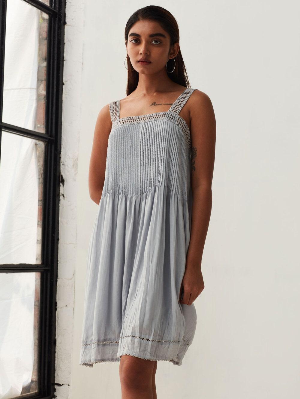 Grey Pintuck Crushed Dress