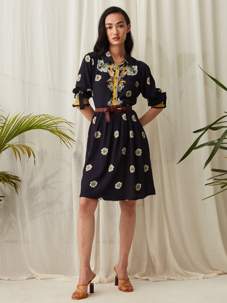 Navy Blue Floral Shirt Dress
