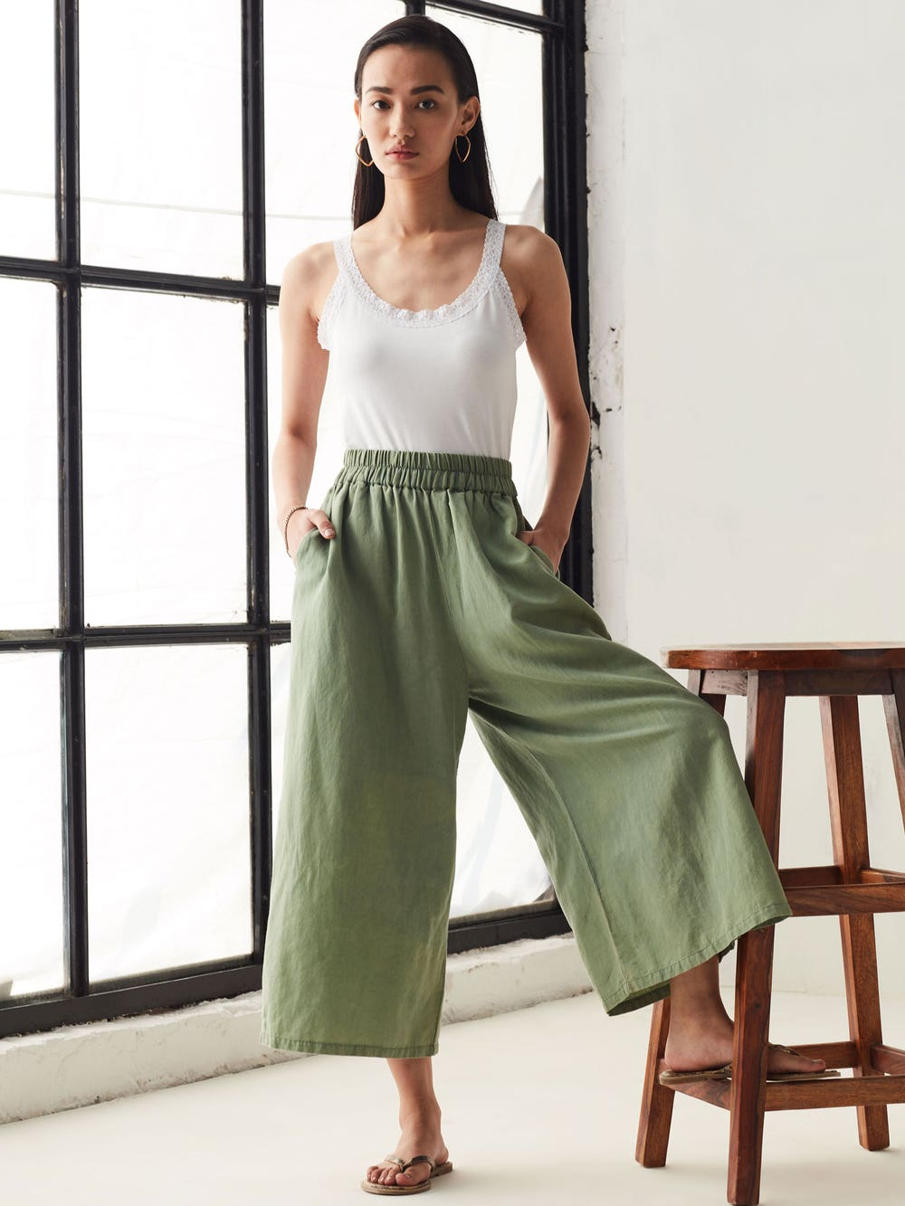 Olive Green Linen Washed  Culottes