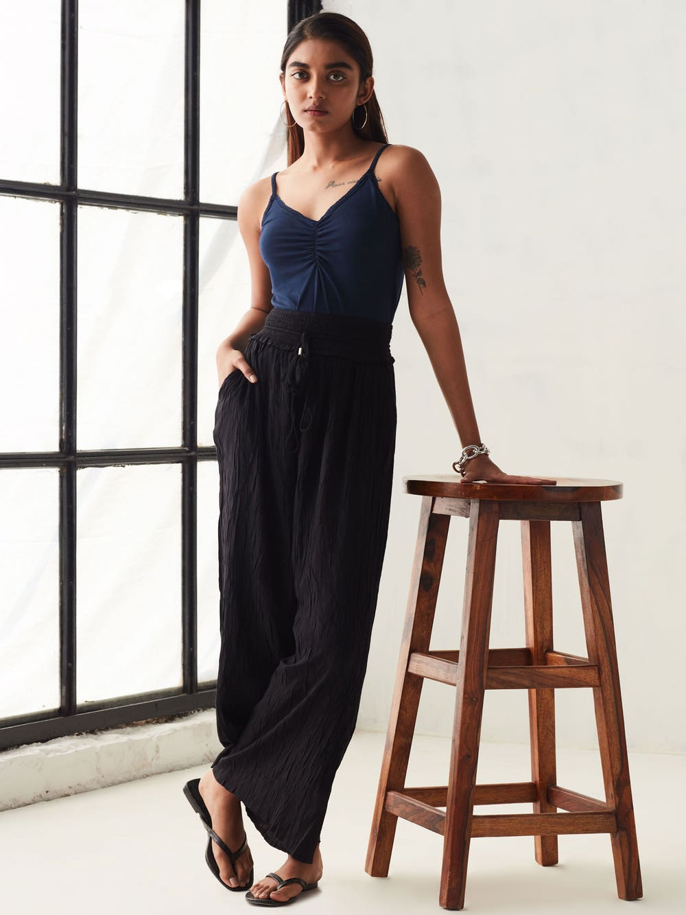 Black Easy-Fit Crushed Culottes