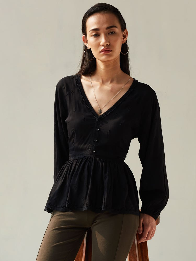 Black Embroidered Peplum Top