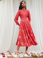 Red Printed Maxi