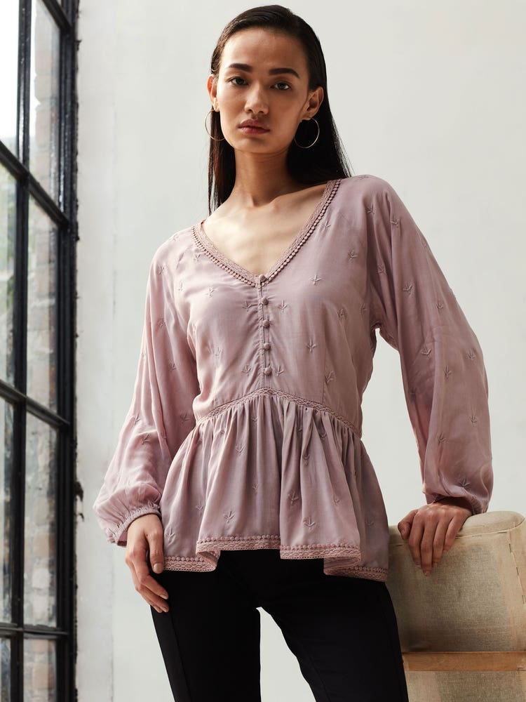 Lavender Embroidered Peplum Top