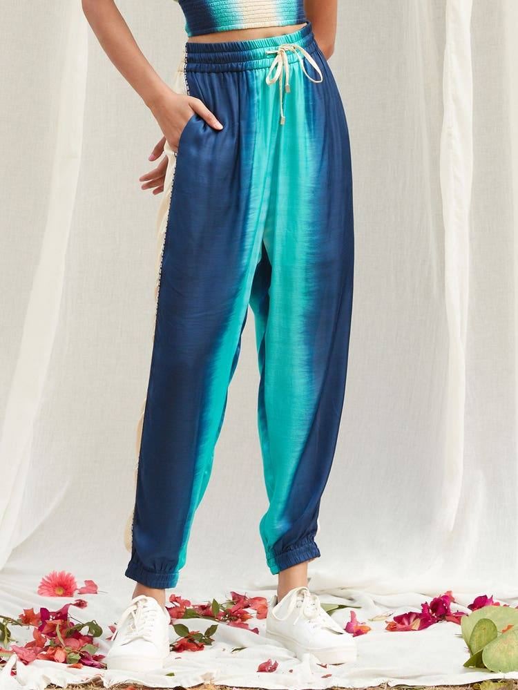 Off White & Blue Ombre Jogger Pant