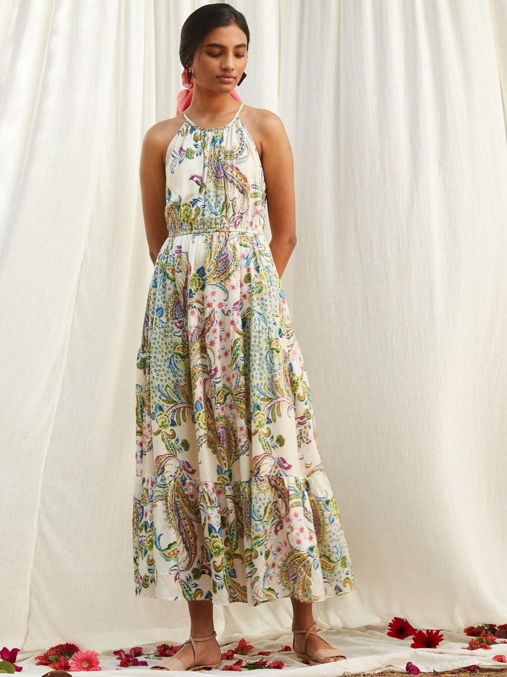 Off White Printed Halter Maxi Dress