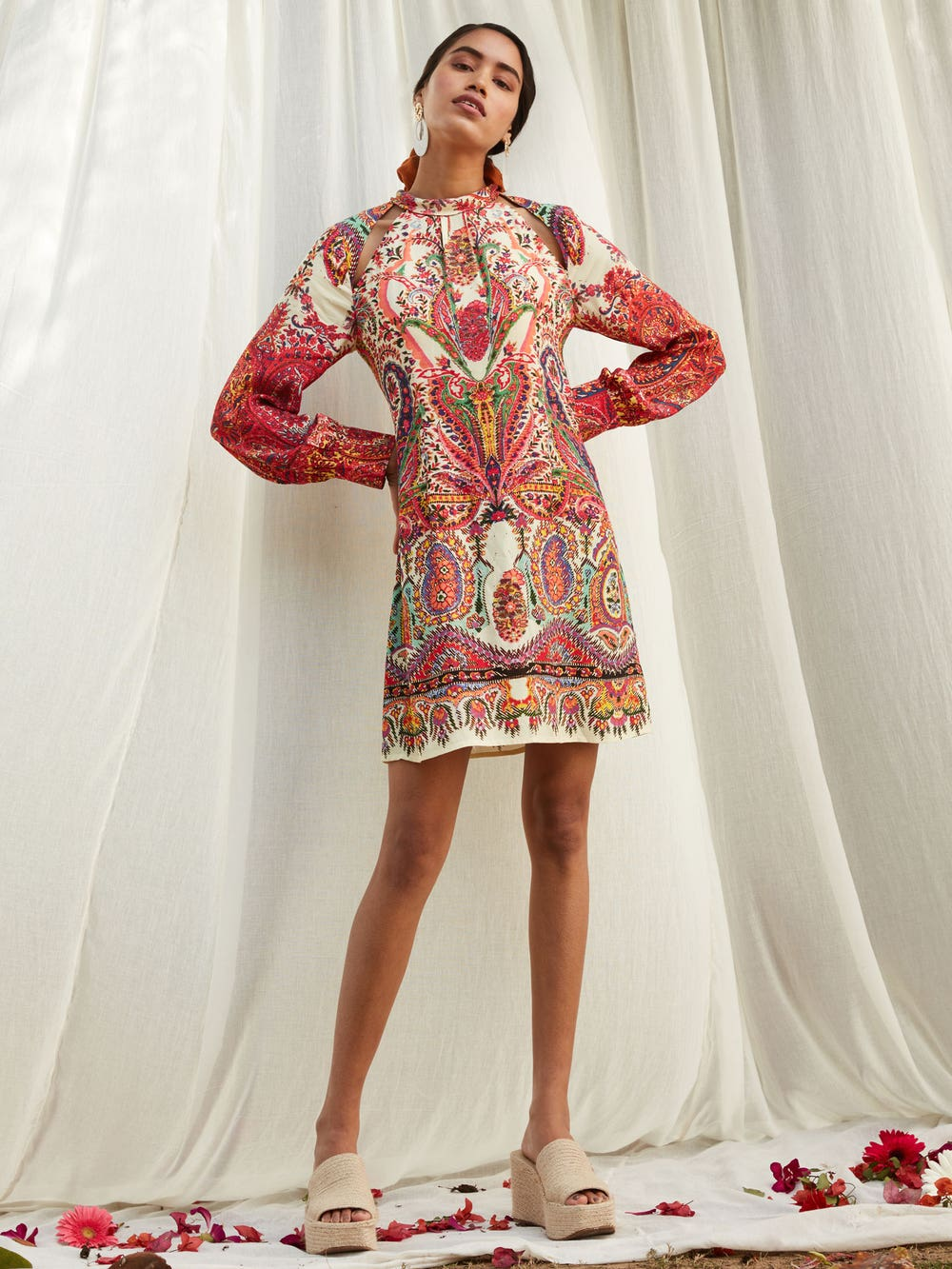 Pink Floral Print Short Dress
