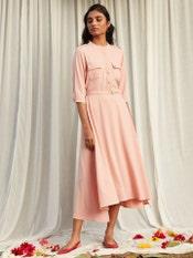 Powder Pink Versatile Shirt Dress