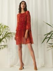 Red Printed Short Dress