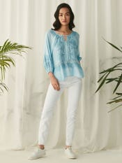 Powder Blue Top With Lace Inserts