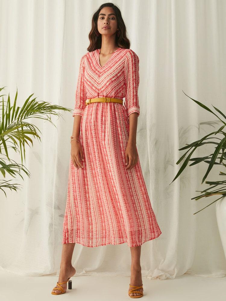 Pink Stripe Long Dress