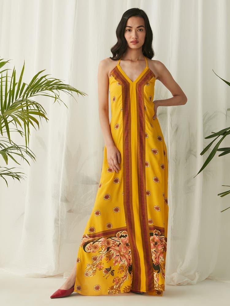 Mustard Yellow Floral Print Maxi
