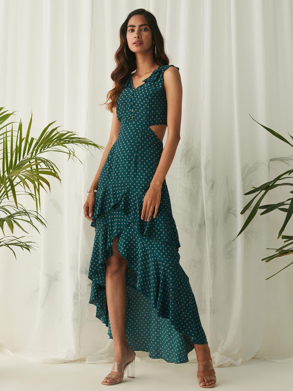 Emerald Cut-Out Ruffle Dress