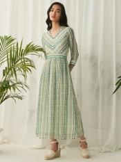 Teal Green Stripe Long Dress