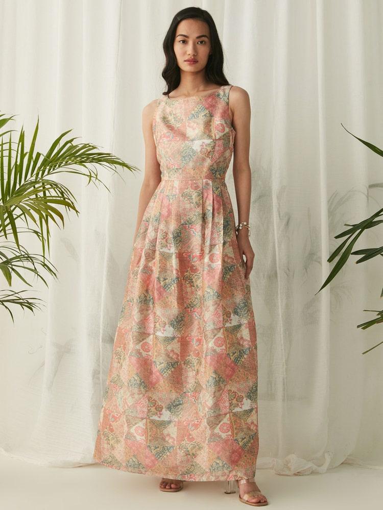 Coral Printed Long Dress