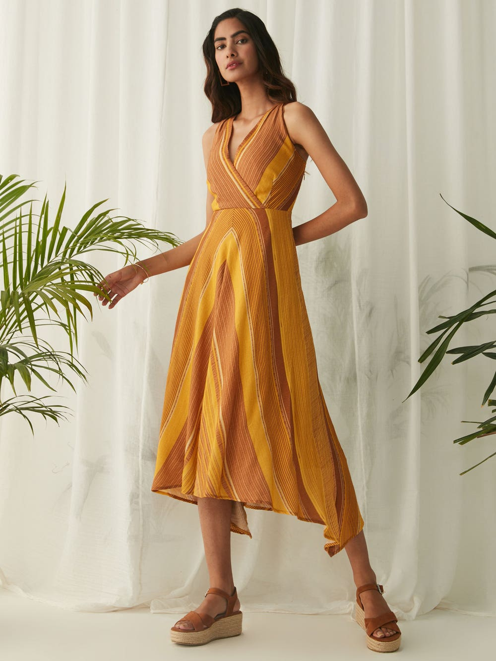 Mustard Yellow Stripe Midi Dress