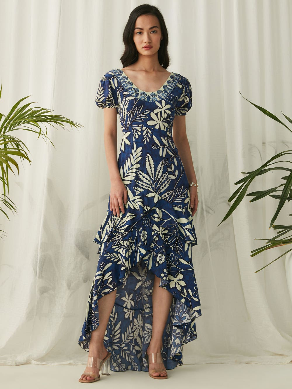 Blue Floral Printed Ruffle Dress
