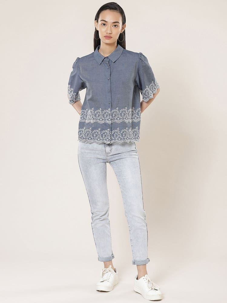 Blue Cotton Schiffly Shirt