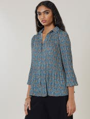 Green Pleated Floral Shirt