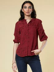 Wine Red Floral Print Shirt