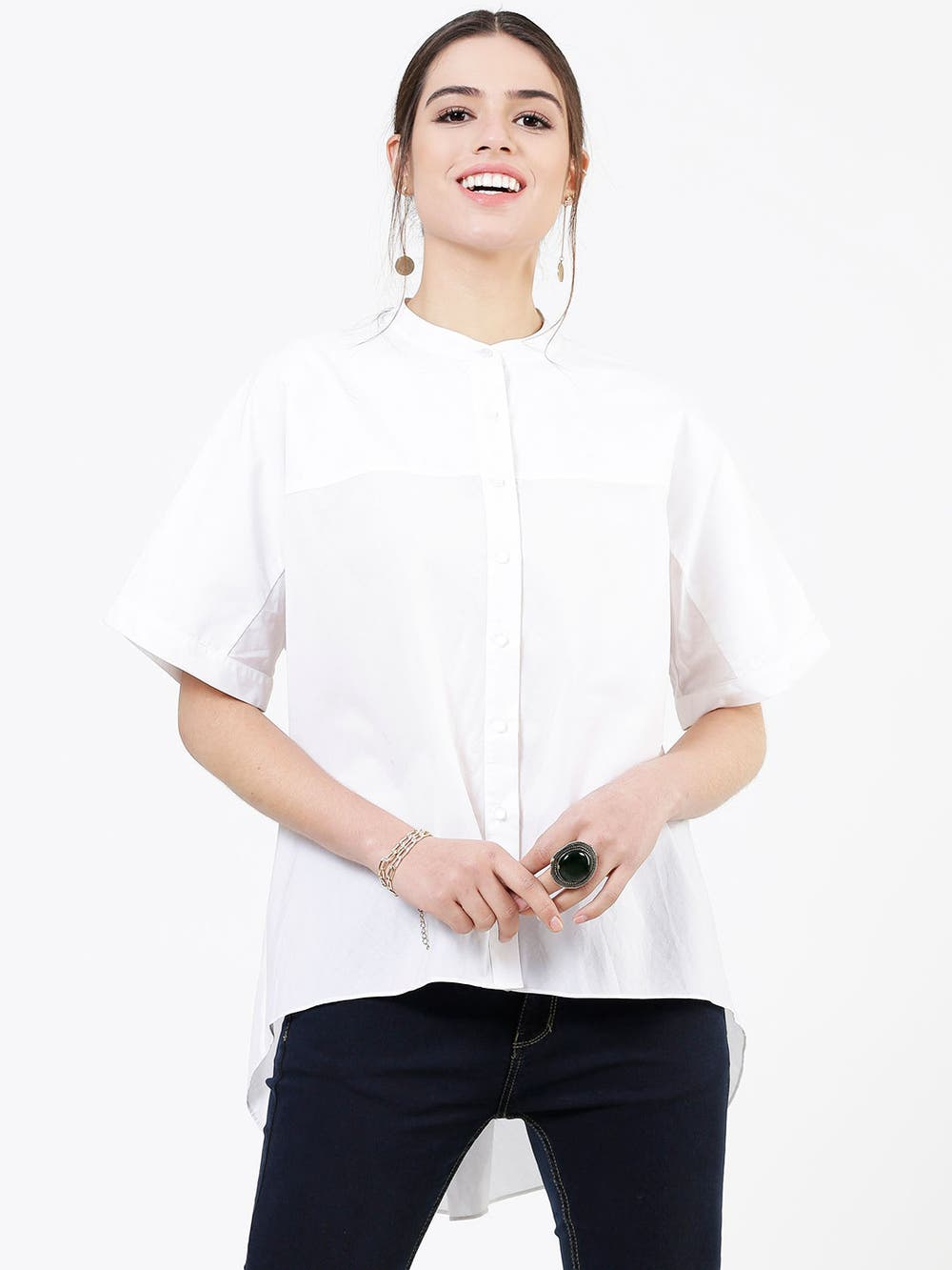 White Paper Poplin Button Down Shirt