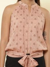 Brown Printed Tie-up Shirt