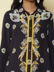 Navy Blue Floral Shirt