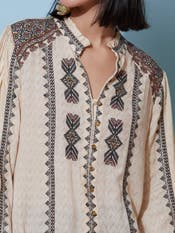 Beige Embroidered Shirt