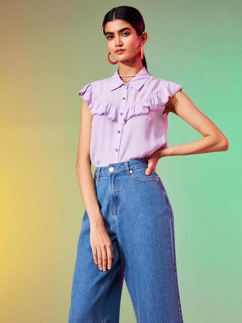 Lilac Crepe Ruffled Shirt