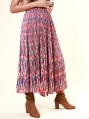 Multi Printed Pleated Skirt